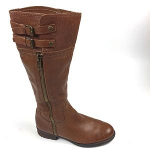 Franco Sarto Tall Brown Red Leather Riding Boots